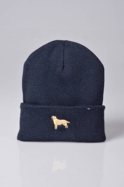 embroidered labrador logo on navy beanie