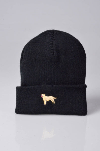 embroidered labrador logo on black beanie