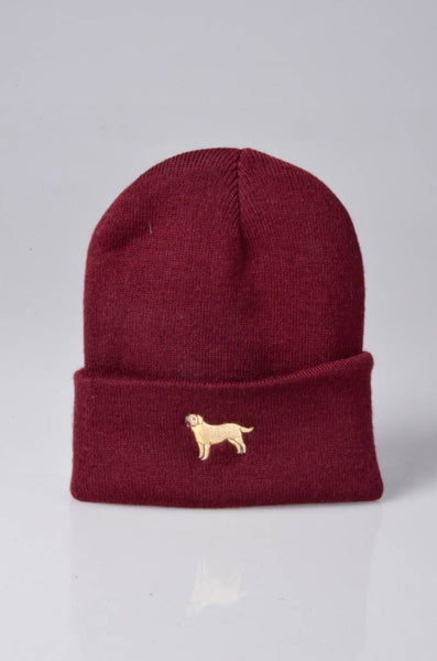 embroidered labrador logo on burgundy beanie