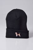 embroidered beagle logo on black beanie