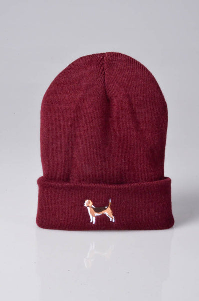 embroidered beagle logo on burgundy beanie