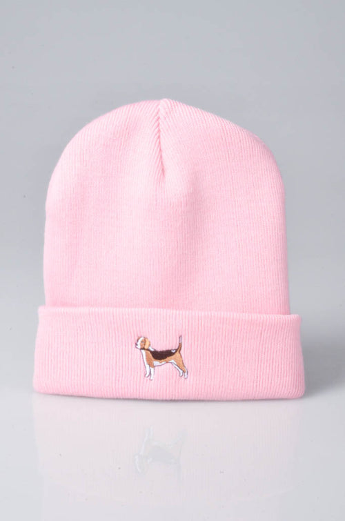 embroidered beagle logo on baby pink beanie