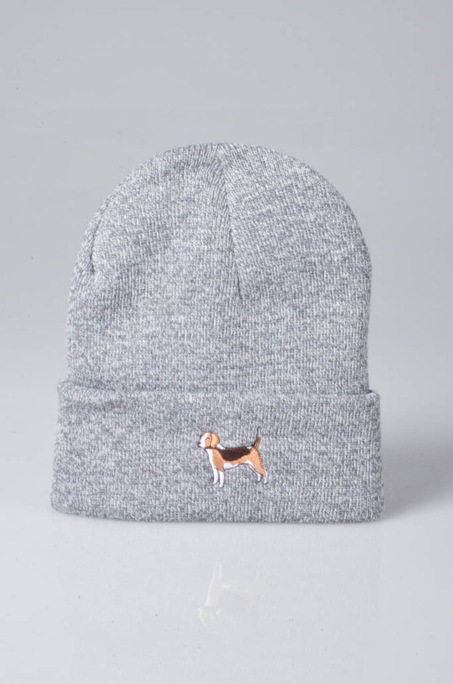 embroidered beagle logo on heather grey beanie