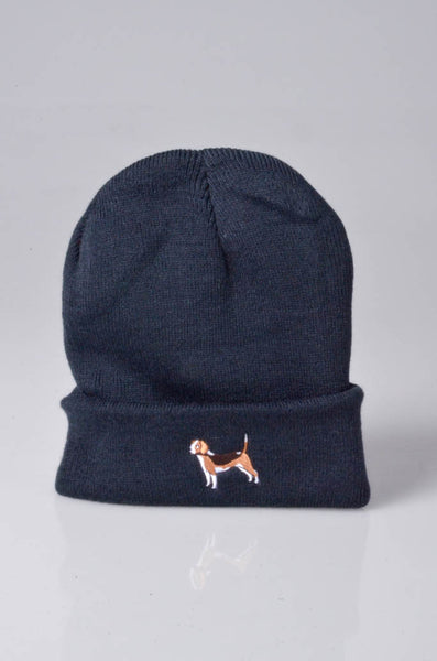 embroidered beagle logo on navy beanie