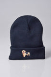 embroidered yorkshire terrier logo on navy beanie