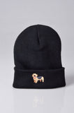 embroidered yorkshire terrier logo on black beanie