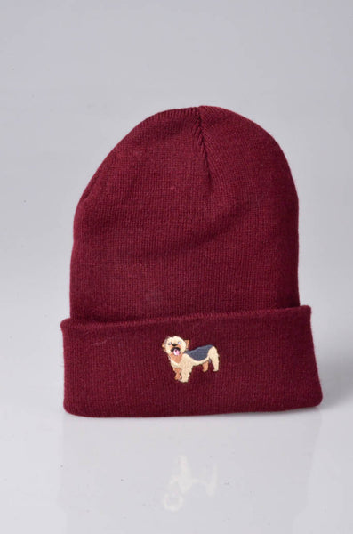 embroidered yorkshire terrier logo on burgundy beanie