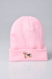 embroidered yorkshire terrier logo on baby pink beanie