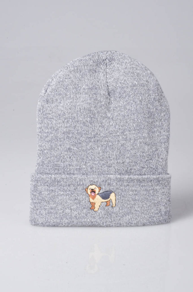 embroidered yorkshire terrier logo on heather grey beanie