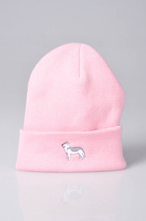 embroidered husky logo on baby pink beanie