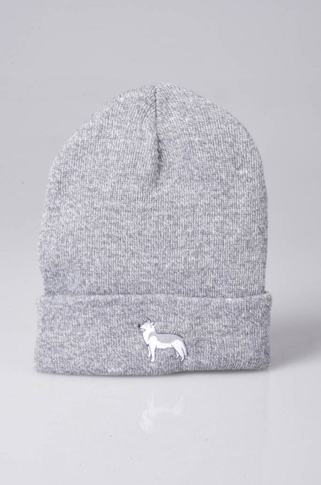 embroidered husky logo on heather grey beanie