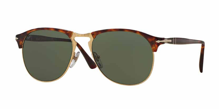Persol Havana  Color 24/31 Size 53 Brown gold sunglasses green lenses trendy designer eyewear online fashion amazing gaze webshop