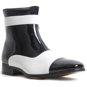 Michael JAckson Style Gangster Zip Up Ankle Boots - Jackson (Black & White)