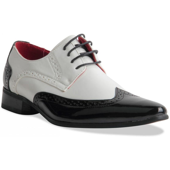 Pointed Toe Brogue Formal Patent Leather Lined Shoes - Prato (Black & White)