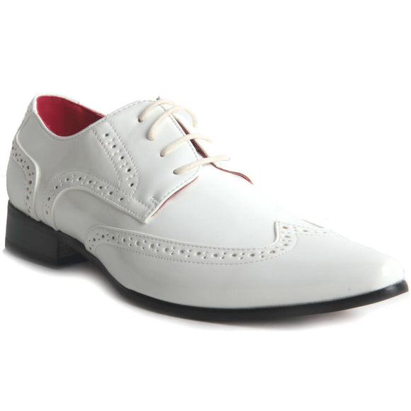 Pointed Toe Brogue Formal Patent Leather Lined Shoes - Prato (Patent White)