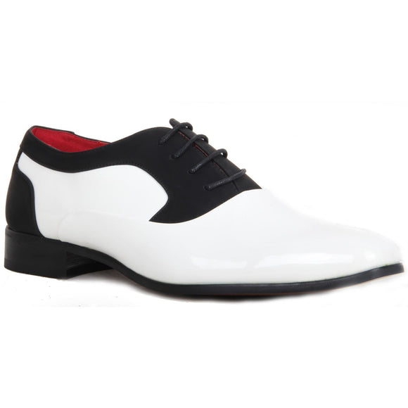 Shiny Genuine Leather Lined Smart Office Shoes - Roberto (Black & White)