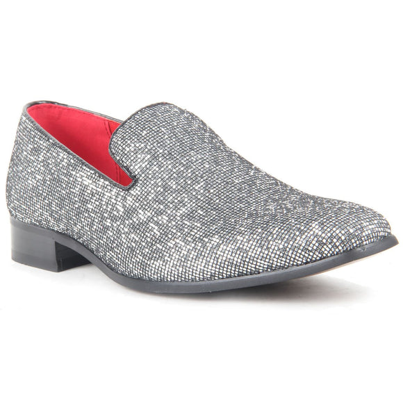 Glitter Sequin Diamond Loafers - East End (Silver)