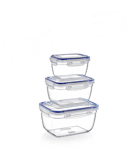 Plastic Rectangle Food Storage Container with Lid. (3 pcs) (550/1000/1800 ml).