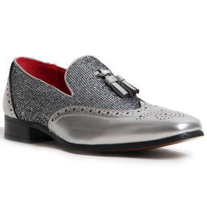 Patent Shimmer Tassel Loafers - Antonio (Silver)