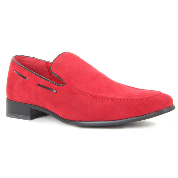 Suede Heavy Stitched Loafer - Runu (Suede Red)