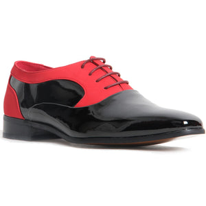 Shiny Genuine Leather Lined Smart Office Shoes - Roberto (Black & Red)