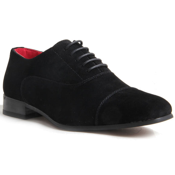 Mens Lace Up Capped Toe Smart Spectator Shoes - Mario (Suede Black)