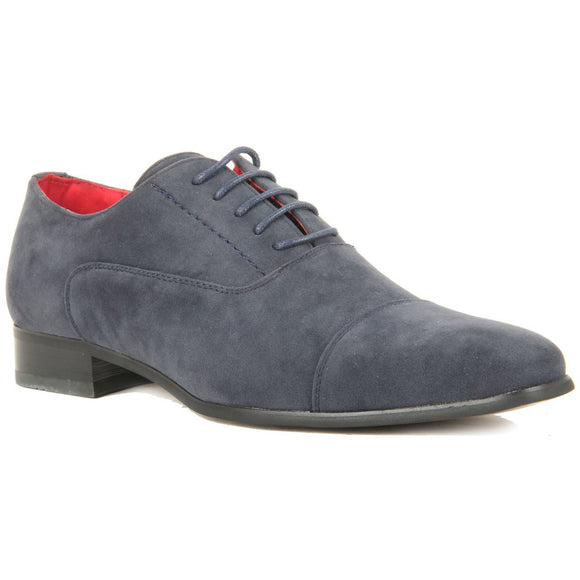 Mens Lace Up Capped Toe Smart Spectator Shoes - Mario (Suede Blue)