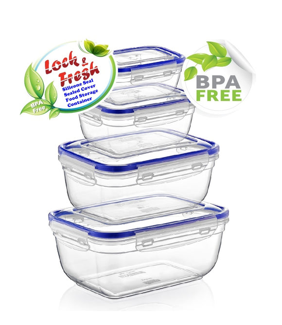 Plastic Rectangle Food Storage Container with Lid. (4 pcs) (400/800/1400/2300 ml).