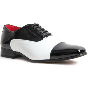 Gangster Lined Smart Spectator Shoes - Mario (Black & White)