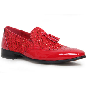 Patent Shimmer Tassel Loafers - Antonio (Red)