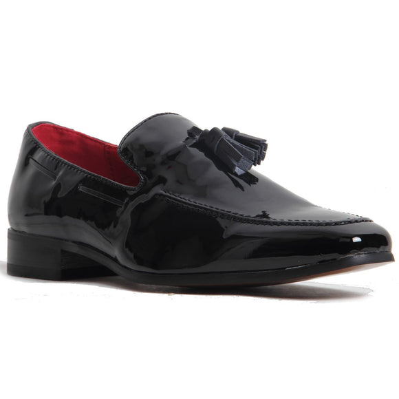 Decorative Stitch Western Heel Shoes - Jersey (Patent Black)