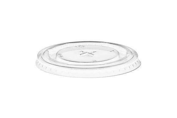Go-Pak Clear Round Pet Flat Lid With Straw Slot. (98 mm) (Box of 1000)