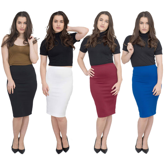 Jolie Max Women Pencil Skirt Midi Stretch Bodycon Skirt Sizes 8 to 20