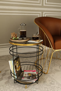 Luxury Marble Pattern 2 Tier Round Coffee Side Table. (L: 40 cm) (Black & Gold).
