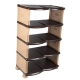 Rattan Style Five Row Shoe Rack