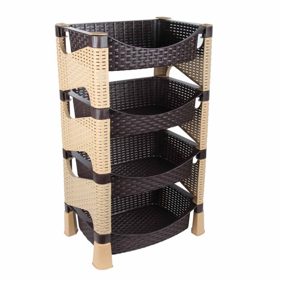 4 Tier Brown and Beige Storage Rack