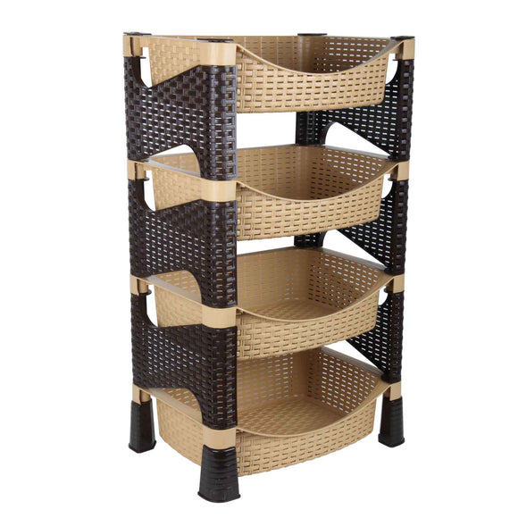 4 Tier Beige and Brown Storage Rack