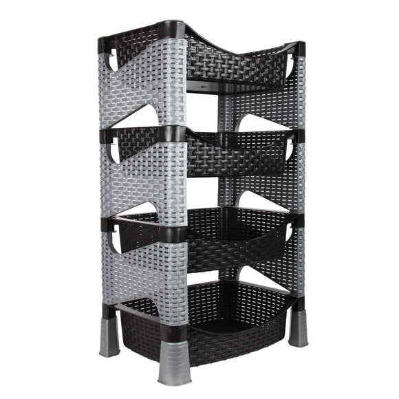 Rattan Style 4 Shelves Kitchen Storage Rack Stand