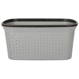 Silver with Black Edge Laundry Basket