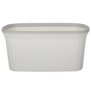 White with Cream Edge Laundry Basket