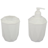 Strong Plastic Bathroom Soap Dispenser & Toothbrush Holder Set. (White)