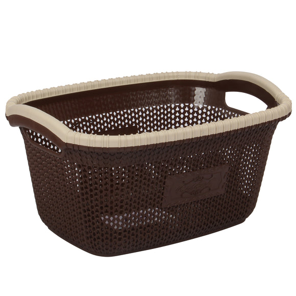 Rattan Style Rectangular Laundry Basket - Small