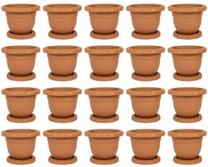 Plastic Round Flower Plant Pot & Saucer Planter. (Pack of 20) (No: 3)