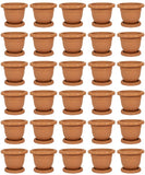 Plastic Round Flower Plant Pot & Saucer Planter. (Pack of 30) (No: 3)