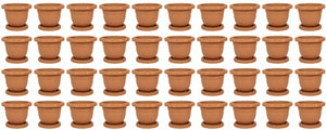 Plastic Round Flower Plant Pot & Saucer Planter. (Pack of 40)