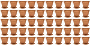Plastic Round Flower Plant Pot & Saucer Planter. (Pack of 50) (No: 2)