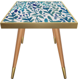 Side Table Square Turquoise Leaves