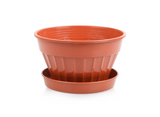 Mini Sizes Plastic Flower Plant Pot and Saucer. Decorative Flat Pot Planter.