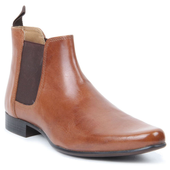 Genuine Leather Western Heel Pointed Toe - Chelsea Boots (Brown)