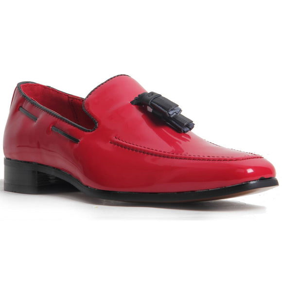 Decorative Stitch Western Heel Shoes - Jersey (Patent Red)